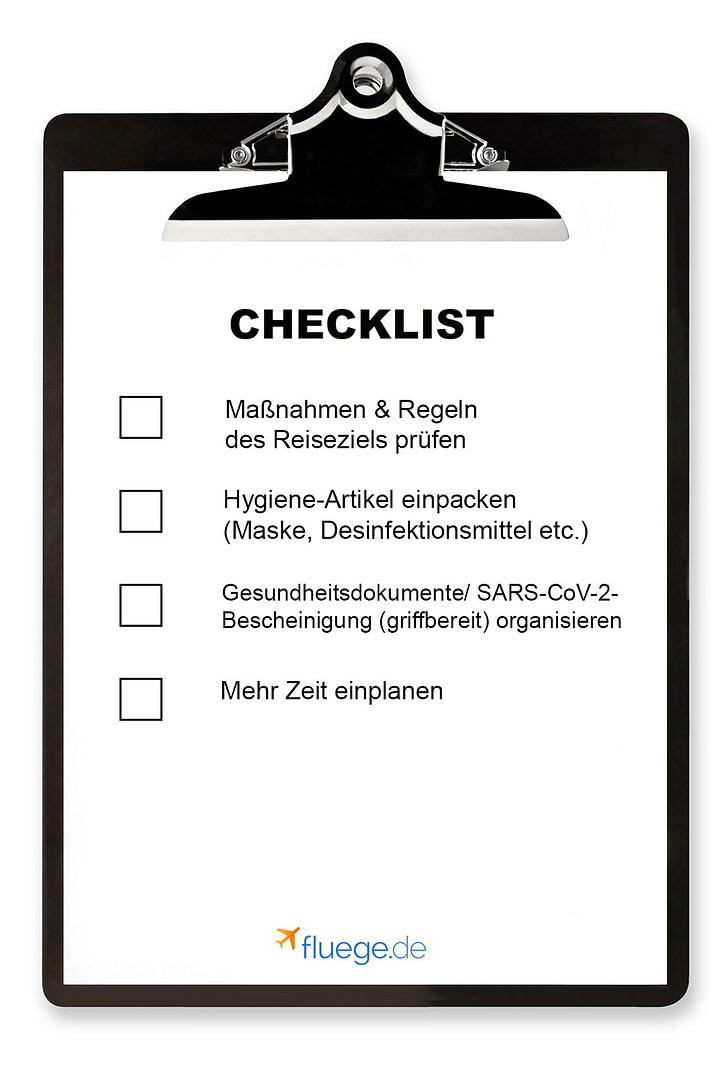 Checklist Reisen in Corona-Zeiten