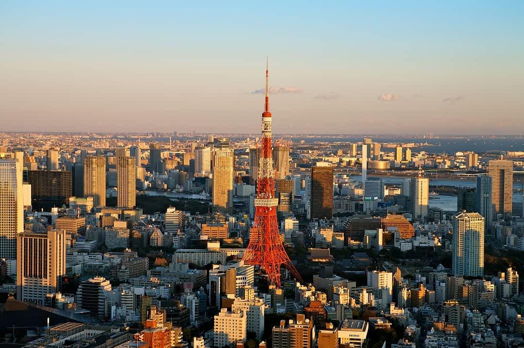 A shot of Tokyo Tower near sunset