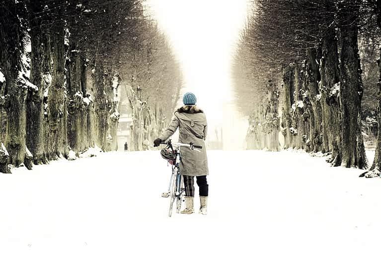 Fahrrad fahren bei Schnee in Kopenhagen