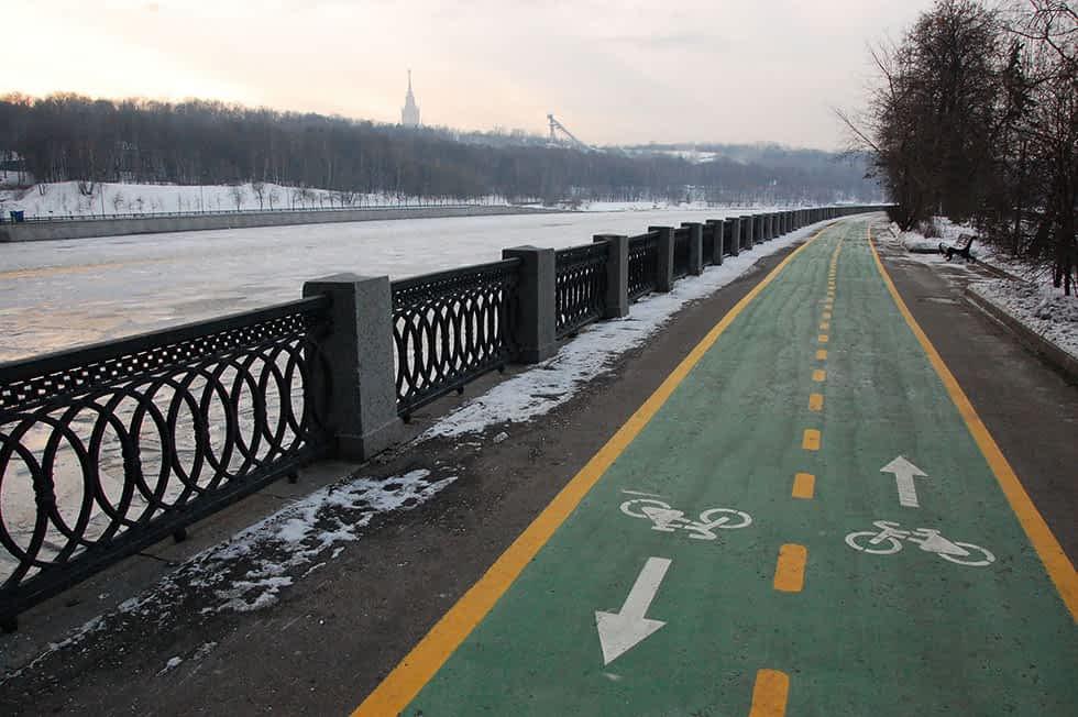 Radweg Moskva Moskau Winter