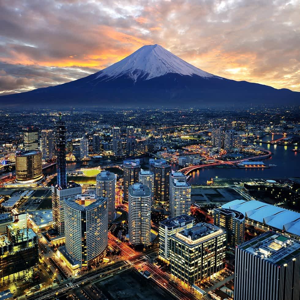 Blick über Tokyo auf den Mount Fuji Tokio
