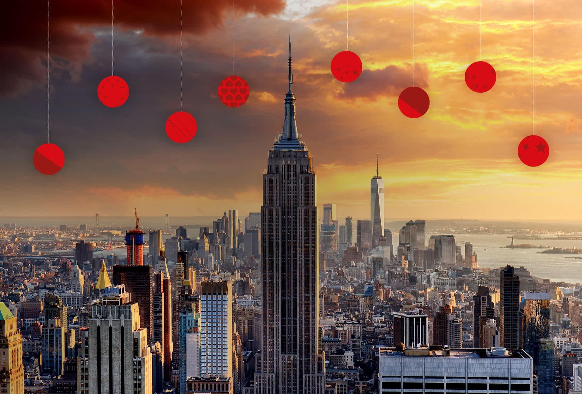 New York Skyline mit Sonnenaufgang